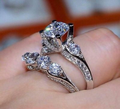 Fashion Women Men 925Silver White Sapphire Wedding Proposal Jewelry Ring Sz 6-10