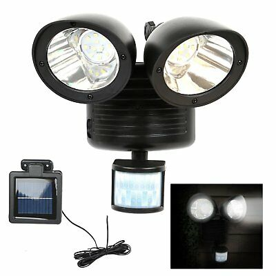 Solar Powered PIR Motion Sensor Light Garden Outdoor Security Flood Lamp DE
