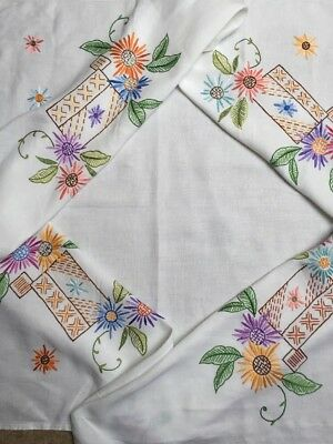 Exquisite Vintage Tablecloth Embroidered Colourful Flowers White Linen VGC 49""
