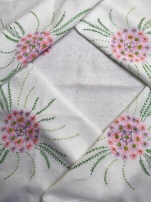 Exquisite Vintage Tablecloth Embroidered Colourful Flowers White Linen VGC 47""
