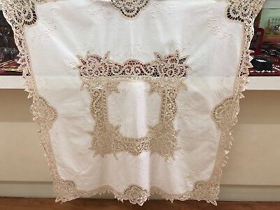 Vintage Hand Embroidered/Cut Work/Crochet Edge Linen TABLECLOTH