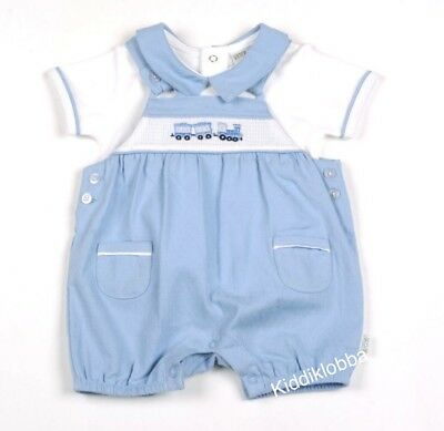 Bnwts - Beautiful Baby Boys Train Dungaree 2Pceoutfit - Size 3-6 Months