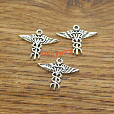 12 Heart Caduceus Charms Medical Symbol Charms Antique Silver Tone 26x26 3570