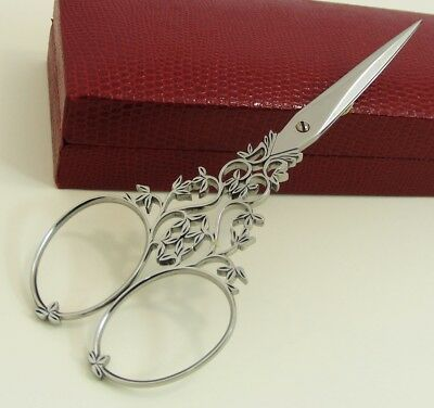 1950'S Antique French Nogent Floral Ornate Filigree Embroidery Scissors