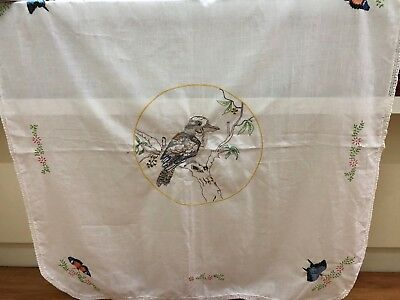 Vintage Hand Embroidered/Crochet Edge Kookaburra And Butterfly Linen Tablecloth
