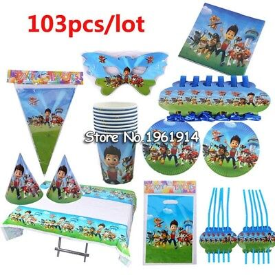 103pcs Cartoon Paw Patrol Children Party Sets Tableware Paper Plate Napkins Cup
