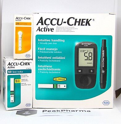 Accu Chek Active Glucometer Kit Blood Medical Sheets Diabetic Check Roche04/2020