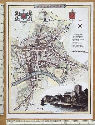 """Old Antique colour map Hereford, England: 1800's 12 x 9"""" Cole & Roper Reprint"""