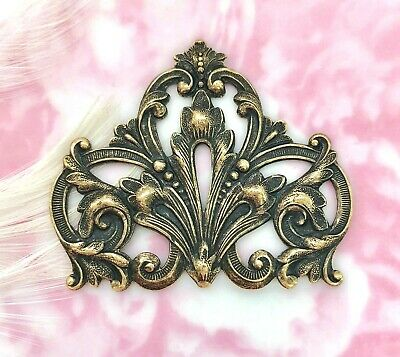 ANTIQUE BRASS Flourish Scroll Crest Stamping  Jewelry Oxidized Finding (FA-6081)