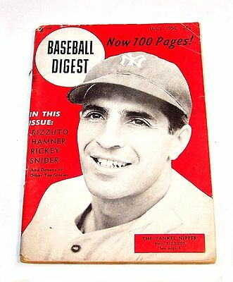 July 1950 Baseball Digest New York Yankees Phil Rizzuto VG Tickets Mets Jets Ofr