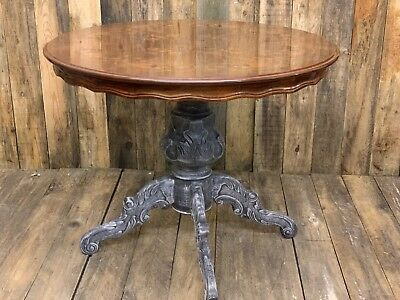 Round Vintage Solid Wood Inlaid Dining Table, Ornate Italian Style Design