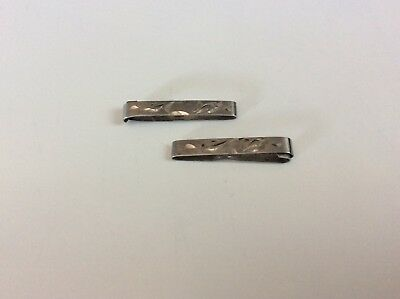 Pair Vintage Sterling Silver Lingerie Pins Clips Decorative Etching