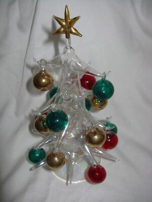 Vintage Crystal Plastic Christmas Tree With Glass Ornaments 10""