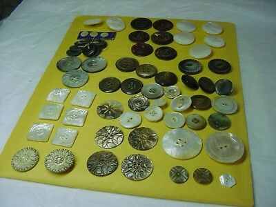 50+ antique mother o pearl buttons/shell many carved assorted sizes iridescent
