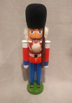 Vntg German Nutcracker Soldier Erzgebirge Hergestellt Toy Soldier w Rifle 11.5""