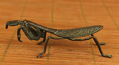 antique chinese bronze hand carving old mantis statue figure home decoration