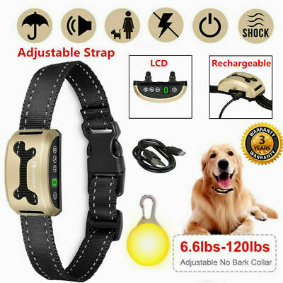 Dog Anti Bark Collar Stop Barking Control Rechargeable Pet Training W/LED Light