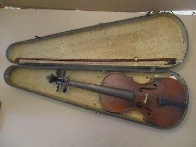Antique Vintage Unmarked Violin With Case Estate