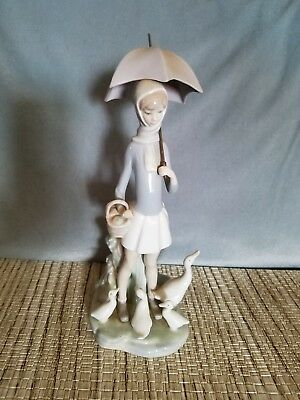 Lladro Girl with Umbrella and Geese Porcelain Figurine #4510 in Blue Lladro Box