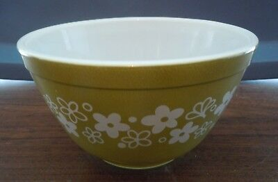Vintage PYREX Spring Blossom Green Crazy Daisy Small Mixing Bowl # 401 750ml