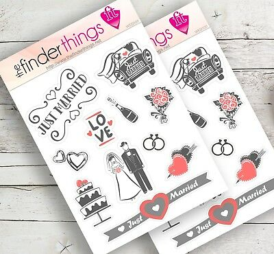 Wedding and Marriage Stickers for Scrapbook, Planners, Diary, and Fun - Precut
