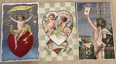 Nice Lot of 3 Cupids~ Hearts~Antique Embossed Valentine Postcards-a376