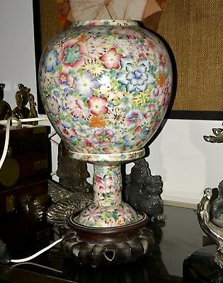 Antique SUPERB CHINESE Famille Rose Thin Porcelain 1000 Flowers TABLE LAMP