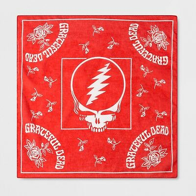 Grateful Dead Bandana Red One Size Steal Your Face Roses NWT