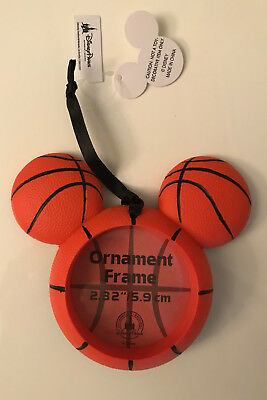 Disney Parks Mickey Mouse Icon Basketball Christmas Ornament Frame NEW with tags