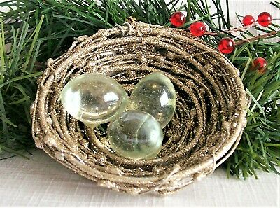 Seasons of Cannon Falls Ornament Glass Eggs Gold Glitter Wire Nest Christmas 3""