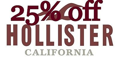 25% HOLLISTER Coupon code 25% exp 12/31 Valid Clearance Sale