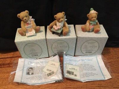 Cherished Teddies 1992 Lot of 3 Bears With Boxes
