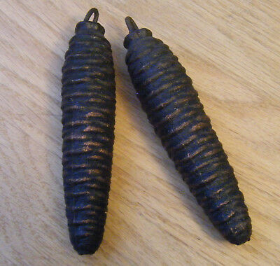 Vintage Cast Iron Cuckoo Clock Pine Cone Weights Black Forest, Lot of 2