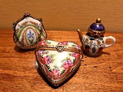 Lot of 3 LIMOGES hinged trinket Boxes, Purse, Heart, Teapot, France
