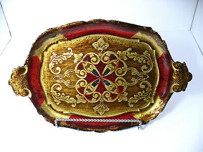 """Vintage Oval Red & Gold Gilt Florentine Italy Tole Ware Wood Tray Vanity 11X7"""""""