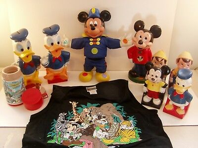 Large Lot Disney Banks Thermos Bookends Shirt Mickey Mouse Donald Duck Pinocchio