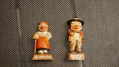 """Vintage/Antique Carved Wooden Folk Art Peasant Man and Woman, 2-1/2"""" Tall"""