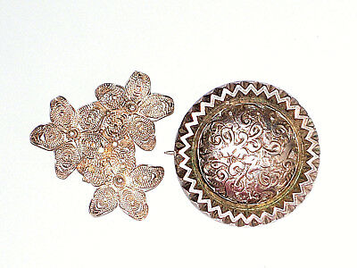 Vintage & antique brooches silver filigree floral & round engraved 10.2g