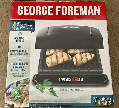 George Foreman Panini Grill - 4 Serving Removable Plate
