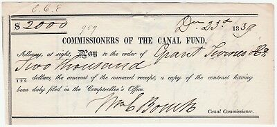 RARE Document Signed by NY Governor William Bouck - 1839 Erie Canal Commission