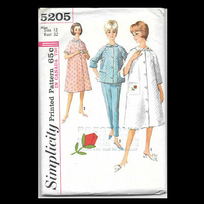 Vintage Simplicity Pattern 5205 Misses' Robe, Top and Pants Size 12