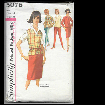 Vintage Simplicity Pattern 5075 Misses' Jacket, Pants, Skirt and Pullover Sz 14