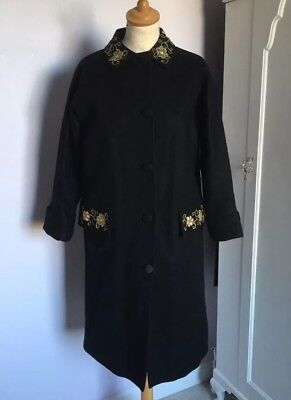 Vintage Black Wool Swing Coat Gold Floral Embroidery 1960s S 8 10