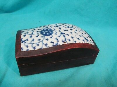 Antique Chinese Felt Lined Carved Wood & Blue And White Porcelain Domed Box