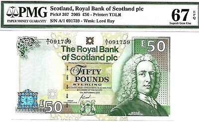 Money Scotland 50 Pound Nd 2005 Royal Bank Superb Gem Unc Pick #367 Value $1500