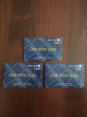 United Airlines Club Lounge Pass - Three Available -valid through 12/31/2018