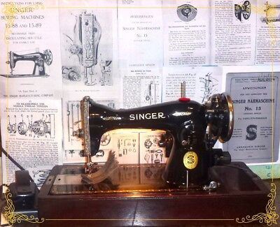 Extremely Rare German Singer 15-89 D antique sewing machine, Bentwood case,1929