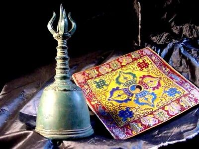 OM GHANTA,MONKS BIG TEMPLE BELL,Bells,C KEY,CHAKRA,HEALING,VAJRA,w,X,DORJE CLOTH