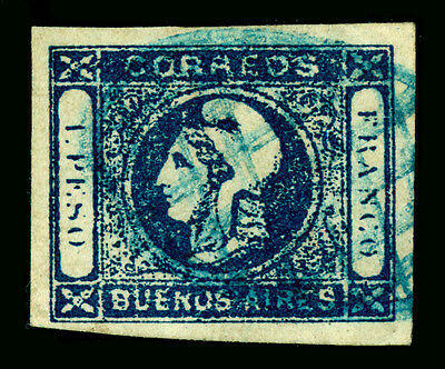 Argentina Argentina Buenos Aires 1859 Steamship Barquitos Sc7a Indigo Sperati Forgery Used Stamps