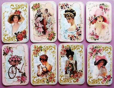 Printed Glamorous Ladies Card Toppers X 8 Vintage Antique French Shabby Chic